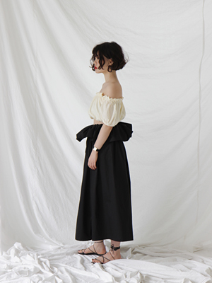 (freckle made♥)black waist ruffle gathered skirt