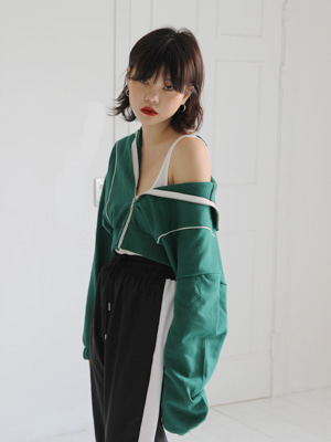 crop length sweat zip in green