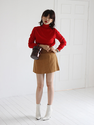 mustard check mini skirt