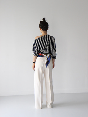 wide leg trousers with belt(ivory,black!)