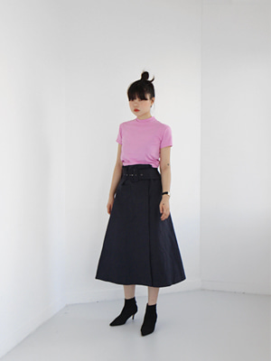 button cotton skirt with belt(navy,khaki!)