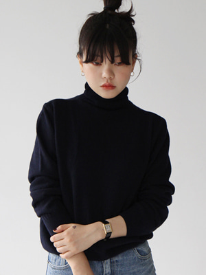 navy cashmere roll neck knit