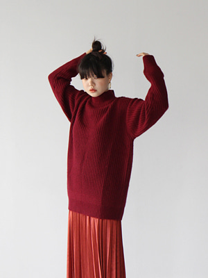 angora high neck oversize knit