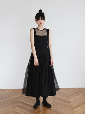 sheer long dress(white,black!)