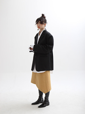 thick unbalance midi skirt(white,yellow!)