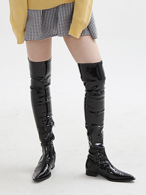 (freckle made♥)patent over the knee high boots(faux leather)
