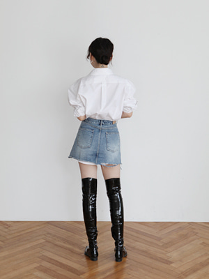 rough denim mini skirt(blue,black!)