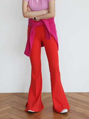 cut out stretch bell bottom pants(red,black!)