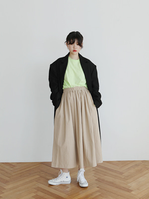 banded cotton skirt(beige,brown,black)