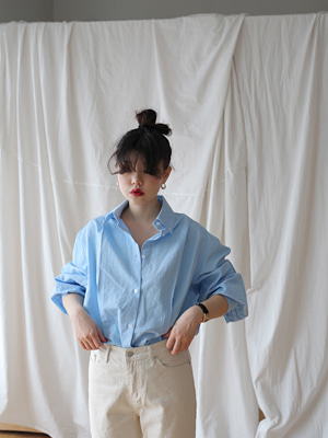 puff sleeve cotton shirts(white,blue!)