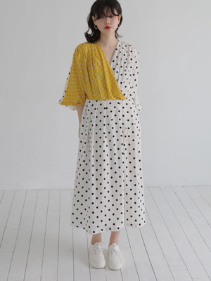 colour block dot dress(yellow,black!)