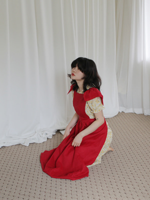 (freckle made♥)linen apron dress(white,red!)