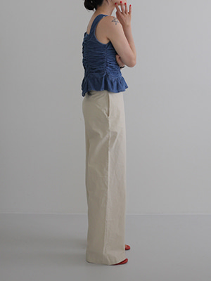 cotton wide leg trousers(white,yellow!)