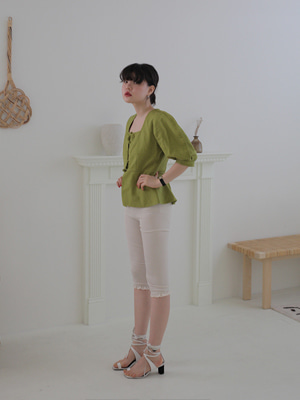 (freckle made♥)linen peplum jacket(green)
