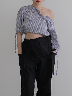 gingham check cropped top(red,blue!)