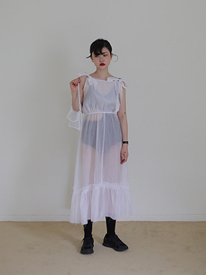shoulder ribbon sheer dress