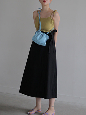 linen wrap skirt(oatmeal,black!)