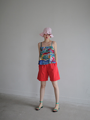 button point half shorts(white,red!)
