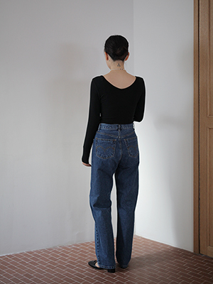 button fly straight denim pants
