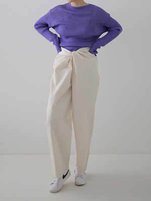 knot wide trousers(ivory,gray!)