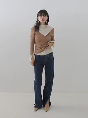 deep v rib knit(4colours!)
