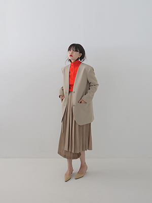 no collar oversize jacket(beige,black!)