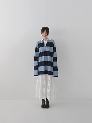 long sleeve stripe rugby tee