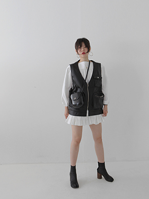 faux leather pocket vest