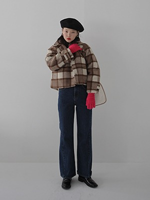 marron check short jacket
