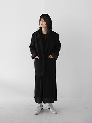 basic two button jacket(black)