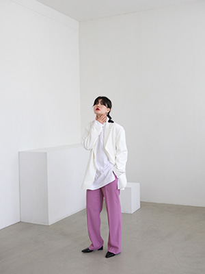 avec straight trousers(beige,purple!)