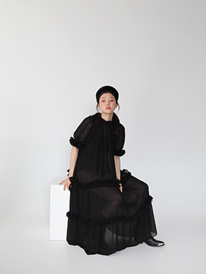 (freckle made♥)black back open sheer frill dress