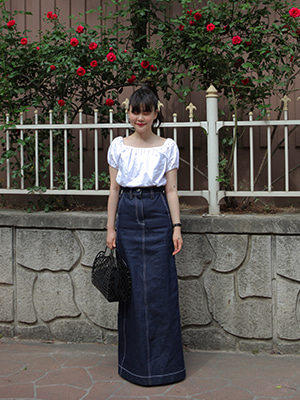 (freckle made♥)denim maxi skirt