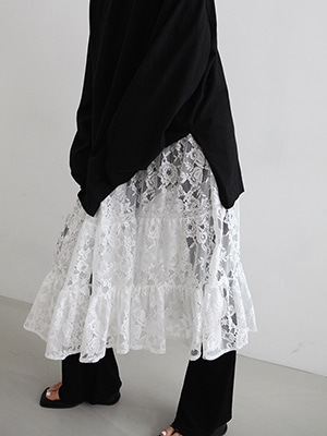 lace long dress with slip(2colours!)