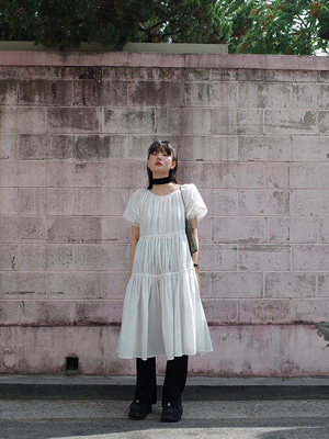 white tiered ruched dress with slip