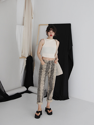 snake print cotton pants