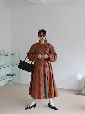 faux leather trench coat(brown,black!) (10월 초 입고 예정!)