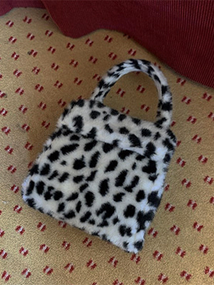 (freckle made♥)faux fur leopard tote bag