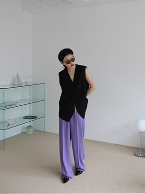 two pintuck wide trousers(purple,black!)
