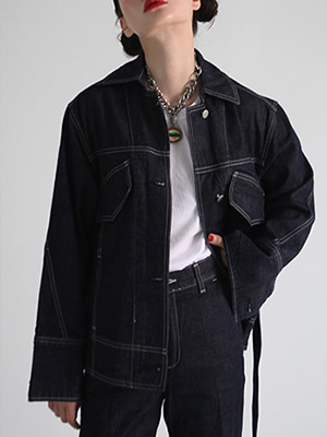 indigo blue denim jacket with belt
