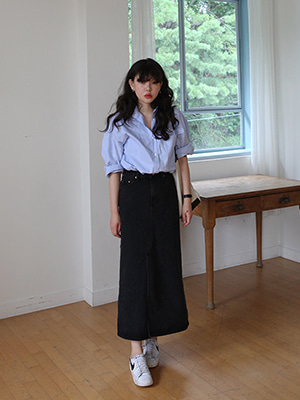 black denim long skirt