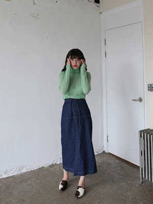 buckle denim long skirt