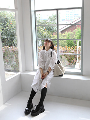 pocket long shirt dress(white,blue!)