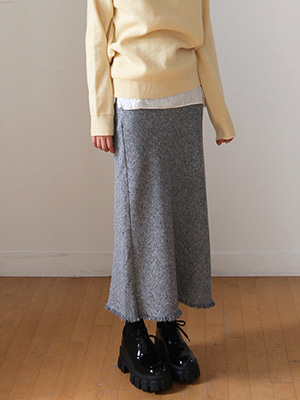 tassel long tweed skirt(gray,black!)