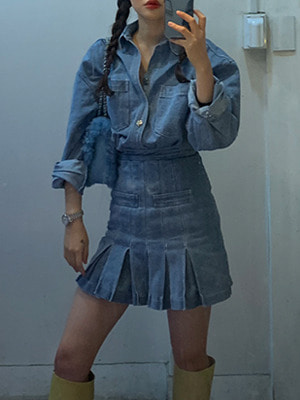 (freckle made♥)denim fixed box pleats skirt