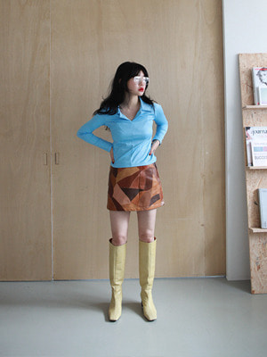 (freckle made♥)leather patchwork mini skirt(2colours!)