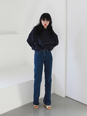 deep blue straight jeans
