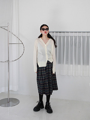 (freckle made♥)oversize strap check wrap skirt