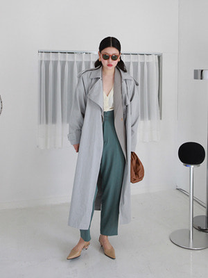 grey oversize trench coat