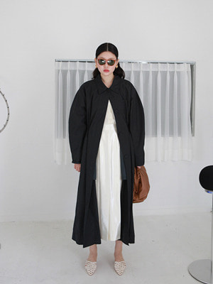 spring drawstring coat(ivory,black!)